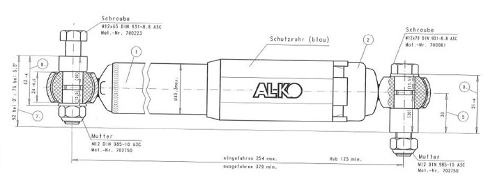 Amortizor osie AL-KO Octagon albarstru 1350 - 2700 kg