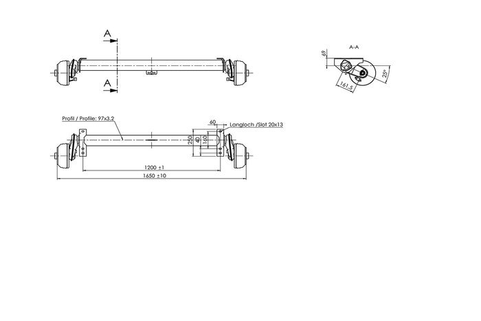 Axă cu frâna AL-KO 1350 kg A:1200 C:1650 5x112