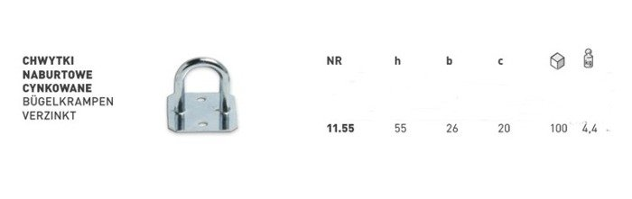 Bridă ochet oblon pentru prindere prelată h=55