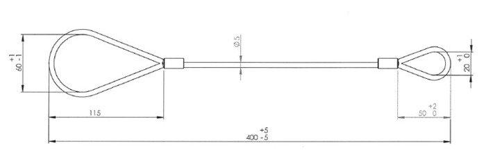 Cablu de siguranță din oțel, pentru remorci auto ușoare