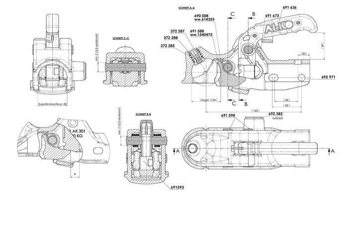 Cuplă remorcare AK301 3000KG FI 50mm din fier turnat