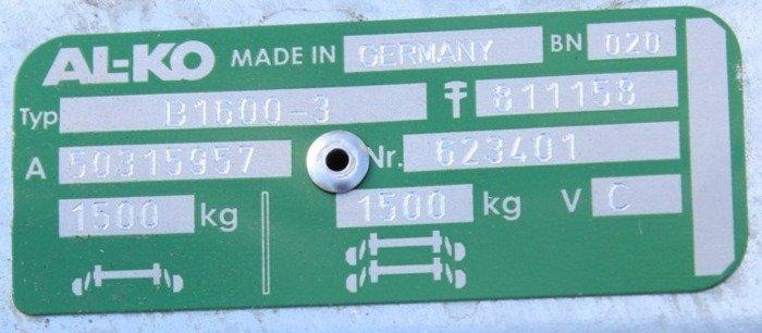 Osie cu frână pentru remorci auto AL-KO 1300 mm 1500 kg 5x112