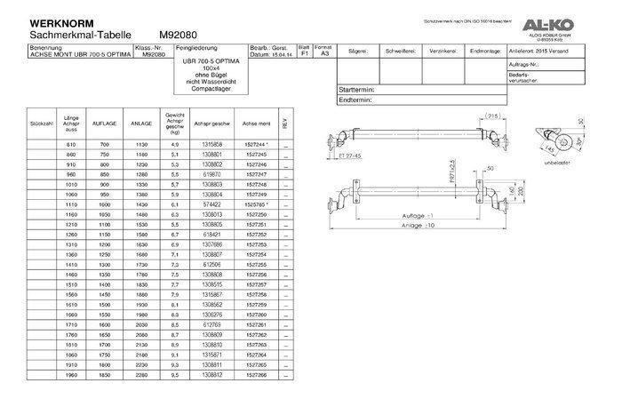 Osie fără frână pentru remorci auto AL-KO optima  A1400 C1830 mm 750 kg 100x4