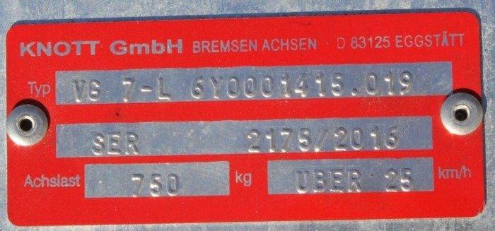 Osie fără frână pentru remorci auto KNOTT VG7 750 kg 1260 mm