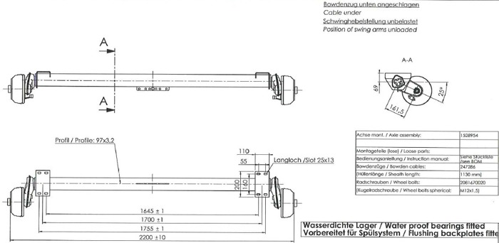 Osie peentru peridocuri cu frână AL-KO 1700 mm 1350 kg 5x112 W-PROOF (tamburi și butuci sunt impermeabili)