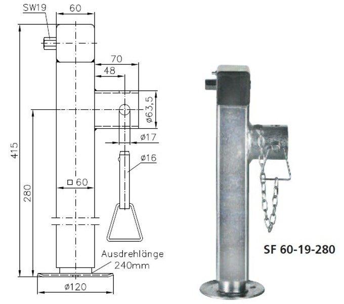 Picior de sprijin retractabil pentru remorci auto Winterhoff SF 60-19-280