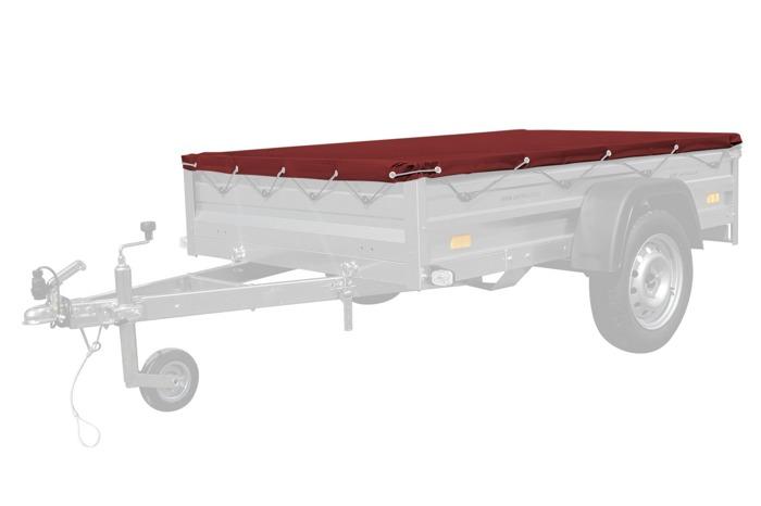 Prelată plată roșie 200x125 pentru remorca Garden 205