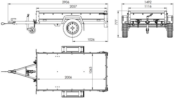 Remorcă auto monoax 200x106 Unitrailer GARDEN TRAILER 200 KIPP cu prelata plată și roata de manevră