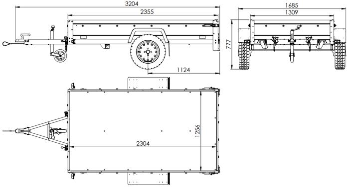 Remorcă auto monoax GARDEN TRAILER 230 KIPP cu roată de sprijin și cadru H-800 cu prelata albastră