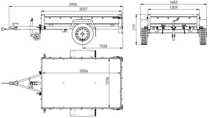 Remorcă monoax transport utilaje 200 x 125 cu prelată gri și cadru și roată suport MMA 750 KG Remorcă Garden Trailer 201 KIPP