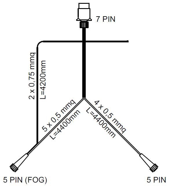 SET: Lămpi spate  Aspöck Multipoint II cu cablaj de 4,5 m cu 7-PIN