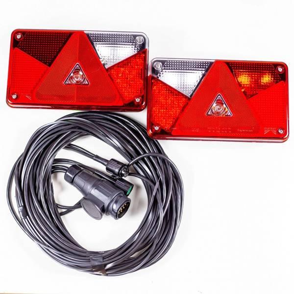 SET: Lămpi spate pentru remorci LED Aspöck Multipoint V și cablaj instalacție electrică pentru remorci și platforme auto de 7 metri - cu 5 Pini la stopuri, iar 13 la mufă.