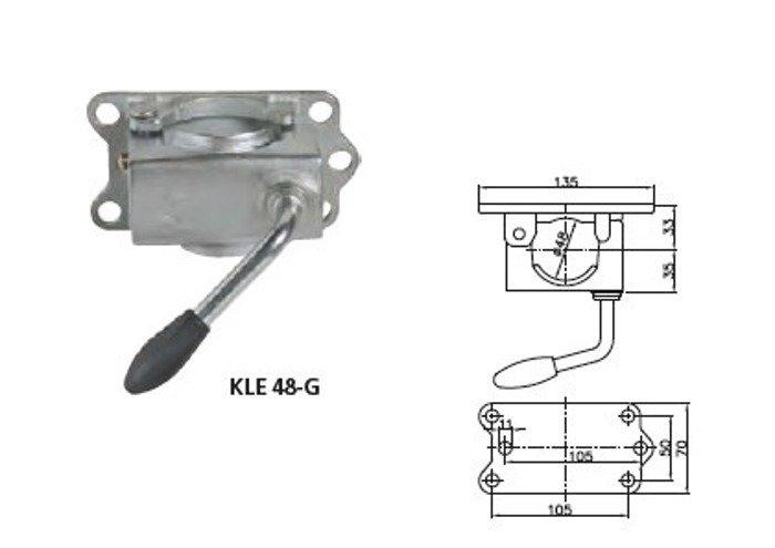 Set: Roată de sprijin pentru remorci auto  ST 48-200 VB și clemă întărită fontă 48 Winterhoff